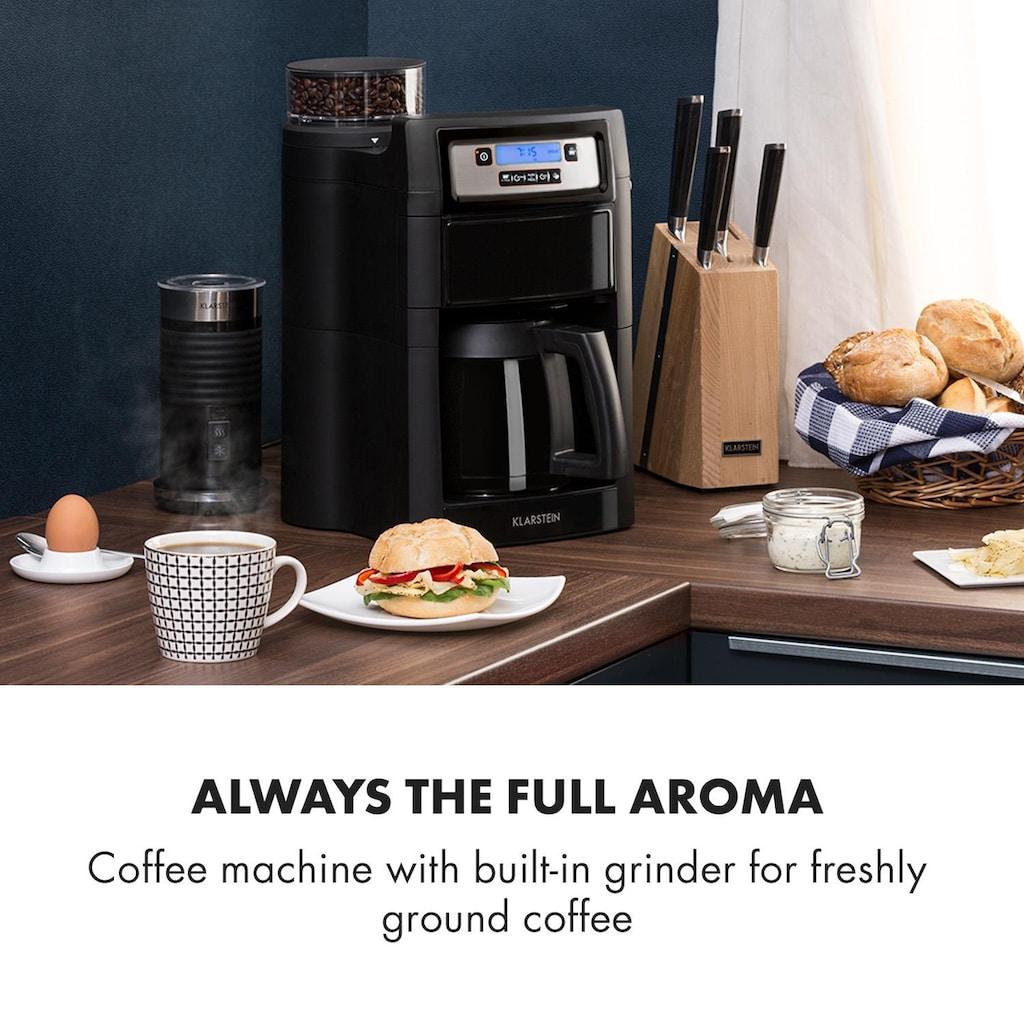 Klarstein Kaffeemaschine mit Mahlwerk »Aromatica II Thermo«, goldfarbener Permanentfilter, Mahlwerk, 1,25 l, schwarz