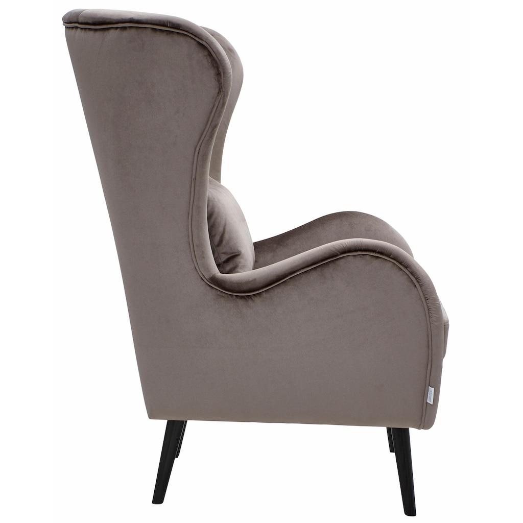 Guido Maria Kretschmer Home&Living Sessel »Salla«, wahlweise mit oder ohne Hocker; großer Sessel: Maße B/T/H: 78/94/118 cm, Bezug auch in Luxus-Microfaser in Teddyfelloptik
