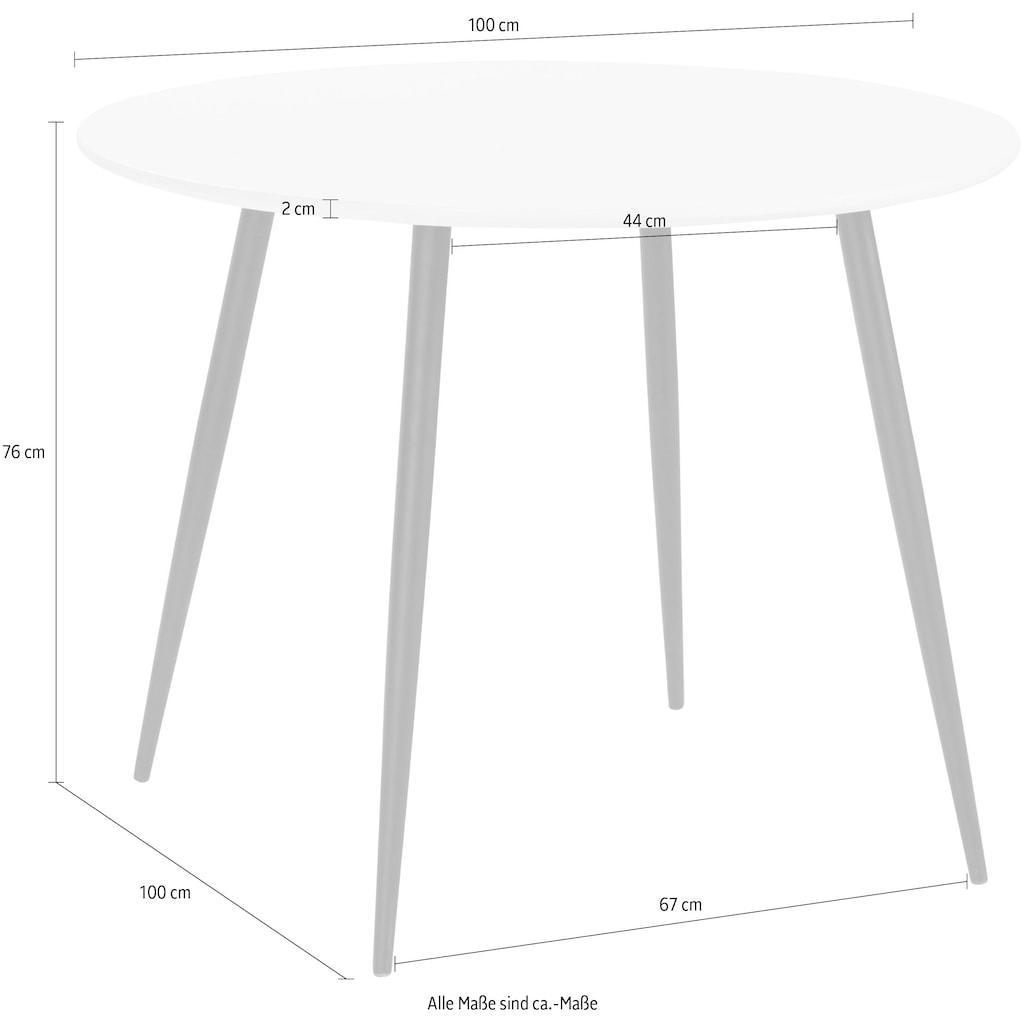 INOSIGN Esstisch »Dino«, rund, Ø 100 cm, schwarzes Metallgestell, Maximale Belastbarkeit 40 kg