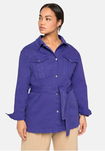 Sheego Jeansjacke, im Hemdblusen-Stil, mit Bindegürtel kaufen