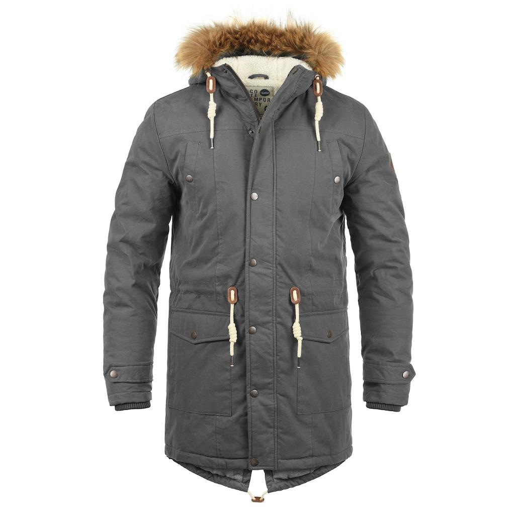 Solid Winterjacke »Dry Parka«, warme Jacke mit abnehmbarem Kunstfellkragen