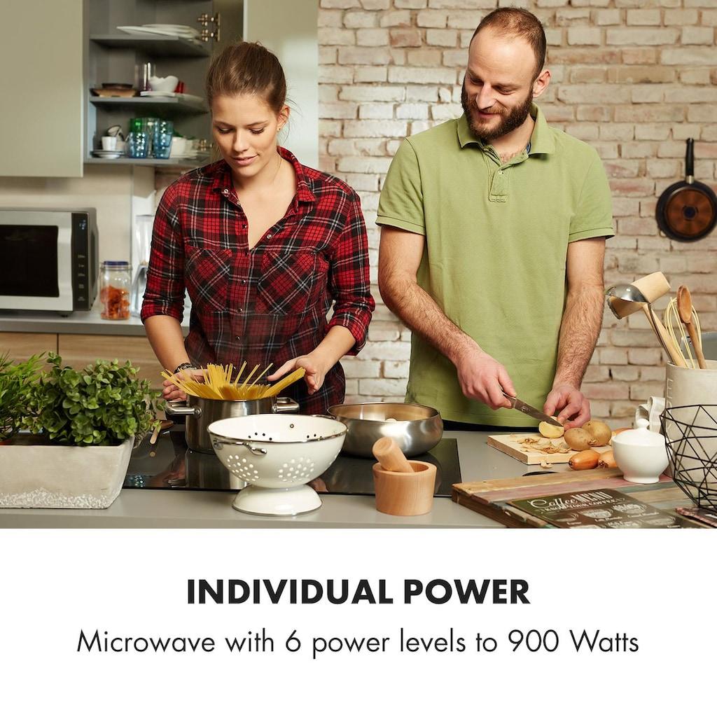 Klarstein Mikrowelle 900W 25l 6 Leistungsstufen Grill silber