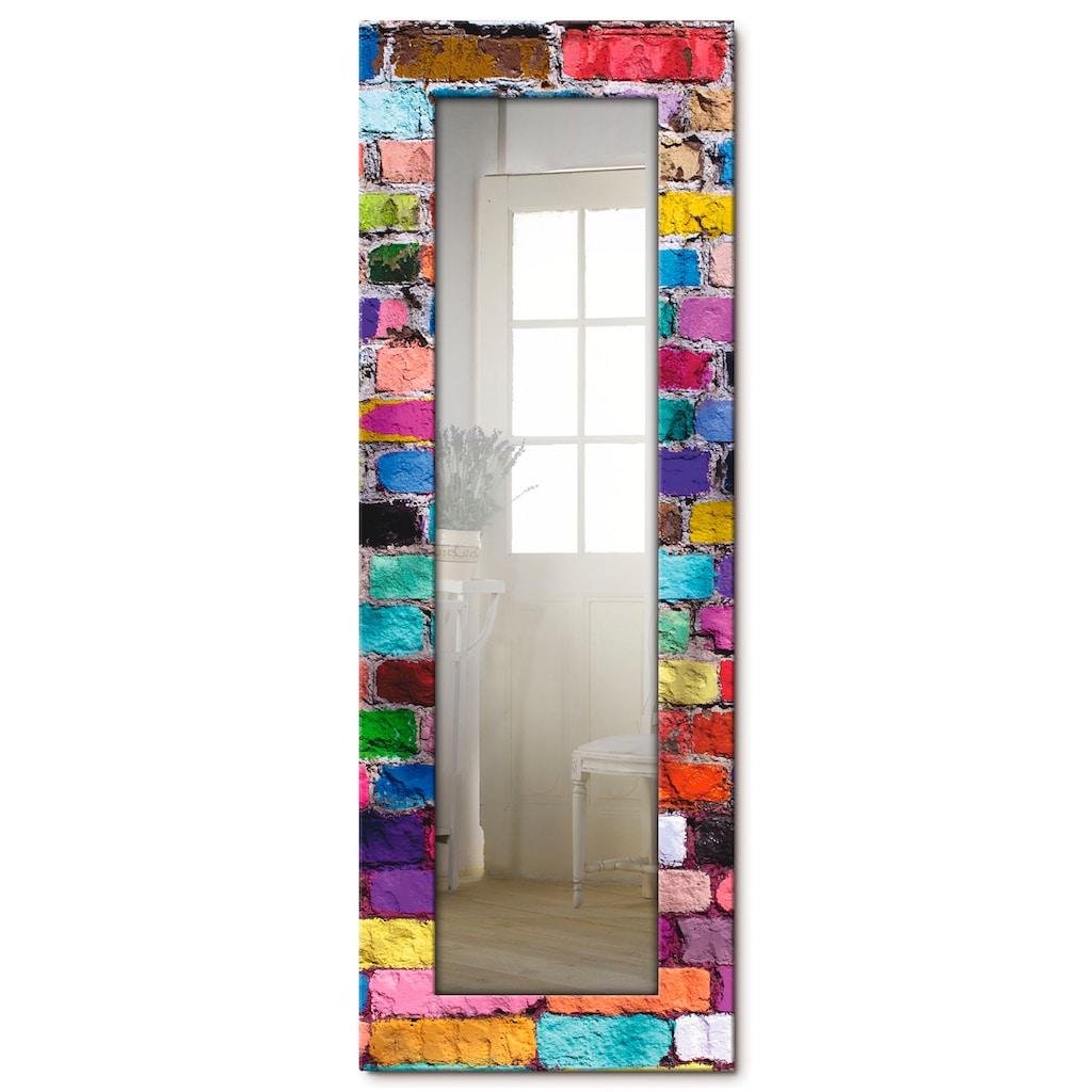 Artland Wandspiegel »Bunte Mauer«, gerahmter Ganzkörperspiegel mit Motivrahmen, geeignet für kleinen, schmalen Flur, Flurspiegel, Mirror Spiegel gerahmt zum Aufhängen