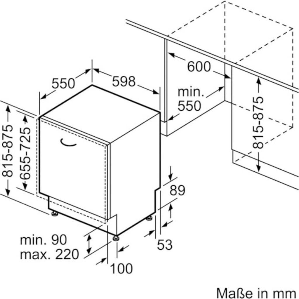 SIEMENS vollintegrierbarer Geschirrspüler »SN65ZX49CE«, iQ500, SN65ZX49CE, 14 Maßgedecke