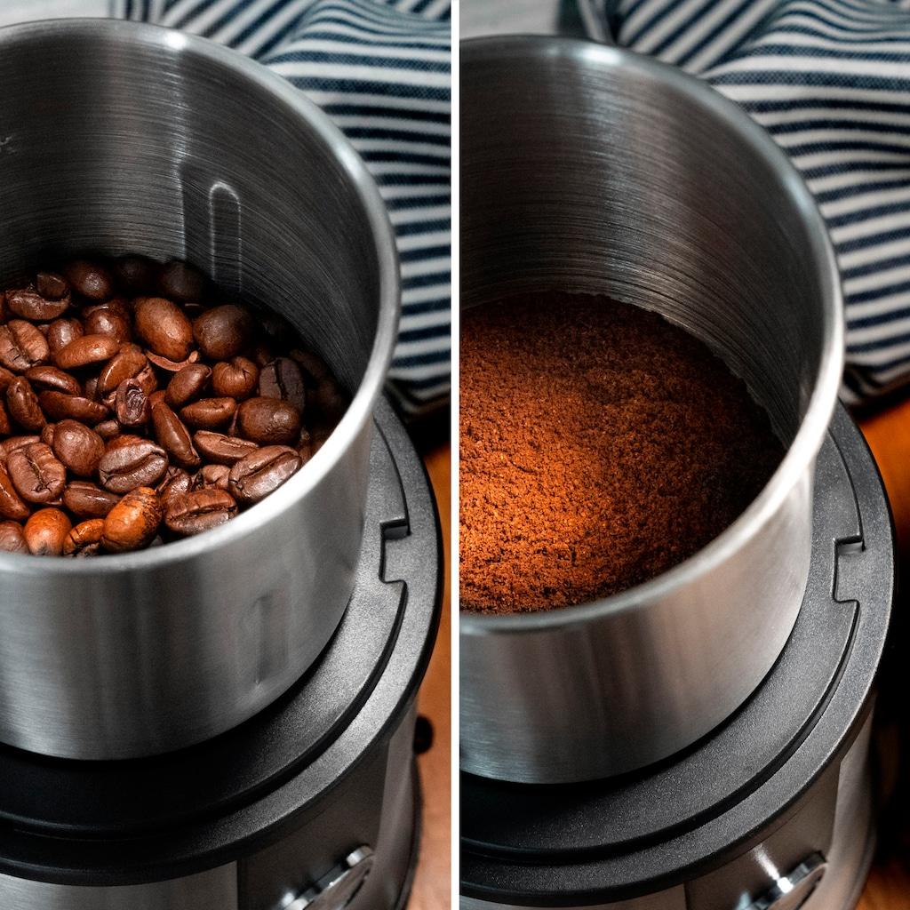ADE Kaffeemühle »elektrische Multifunktions-Gewürzmühle KA1805«, 300 W, Schlagmahlwerk, Zerkleinerer, Schlagmahlwerk, 2 Mahlbehälter mit exrtrascharfen Klingen
