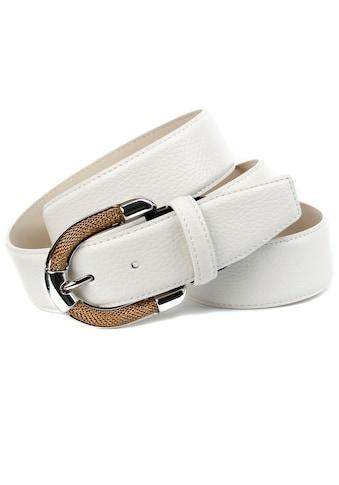 Anthoni Crown Ledergürtel, mit aufwendiger Schmuck-Schließe, Ton in Ton Steppung kaufen
