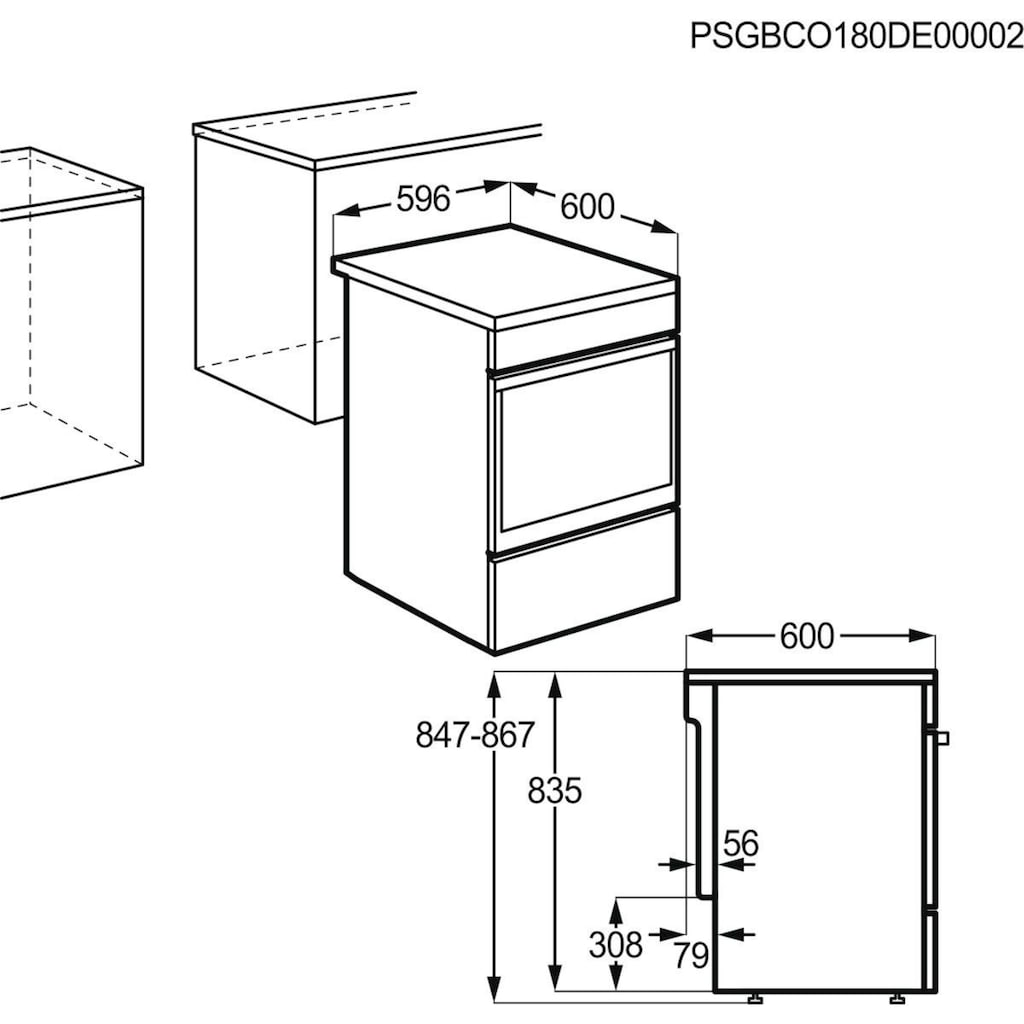 AEG Induktions-Standherd »CIB6640ABW«, CIB6640ABW, mit Backauszug, SteamBake – Feuchtigkeitszugabe