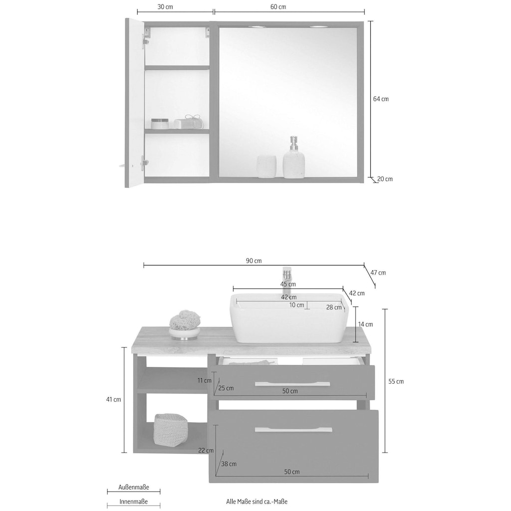 HELD MÖBEL Badmöbel-Set »Davos«, (3 St.), Waschplatz, Hängeschrank und Bad-Spiegel