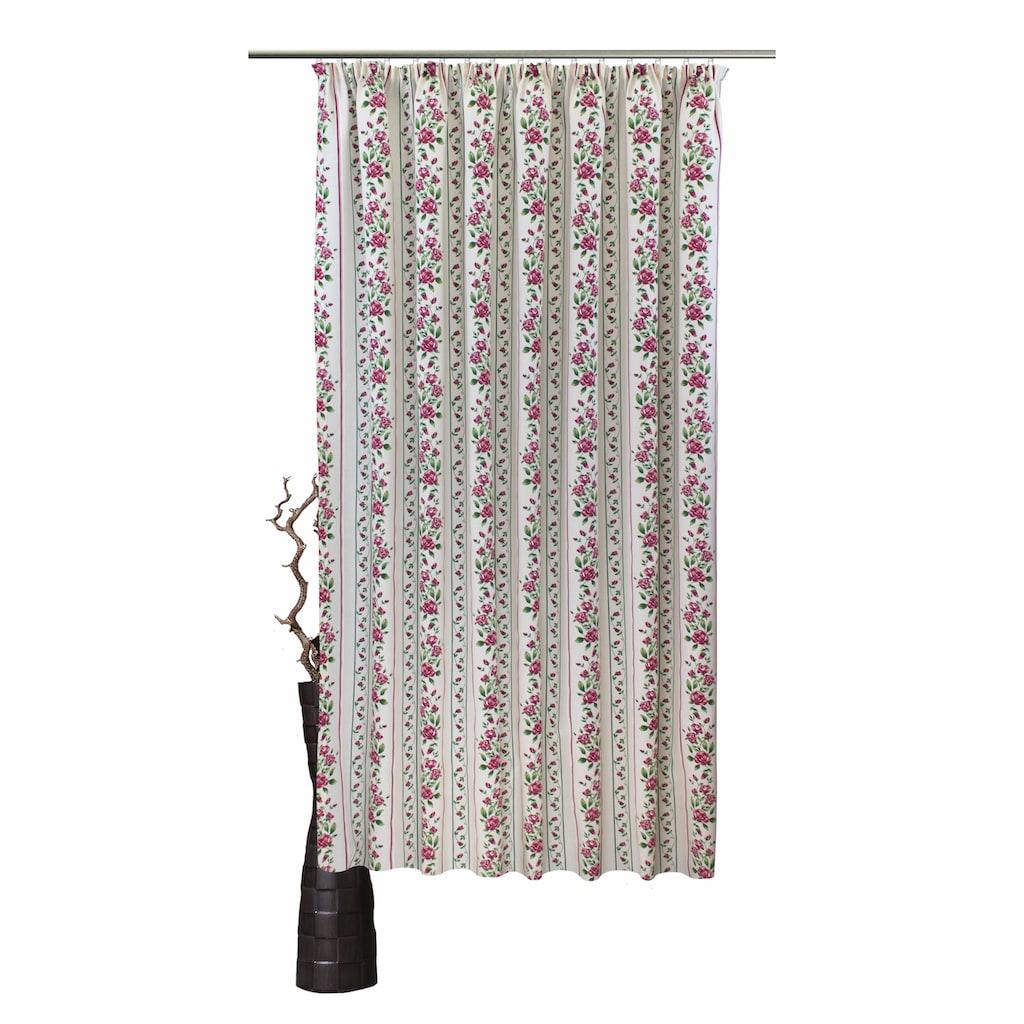 VHG Vorhang »Chrissi«, Leinenoptik, Rose, Streifen, gerader Abschluss