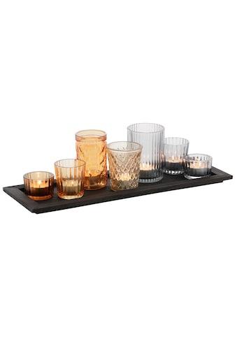 Home affaire Teelichthalter »Tablett mit 7 Gläsern«, in verschiedenen Farben kaufen