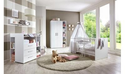 BMG Babyzimmer-Komplettset »Luis«, (Set, 6 tlg.), Bett + Wickelkommode + 2-trg. Schrank + Unterstellregal (Set 2-tlg.) + Wandboard kaufen