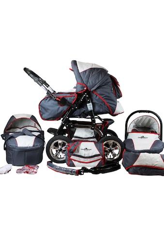 bergsteiger Kombi-Kinderwagen »Milano, grey & red stripes, 3in1«, 15 kg, Made in Europe kaufen