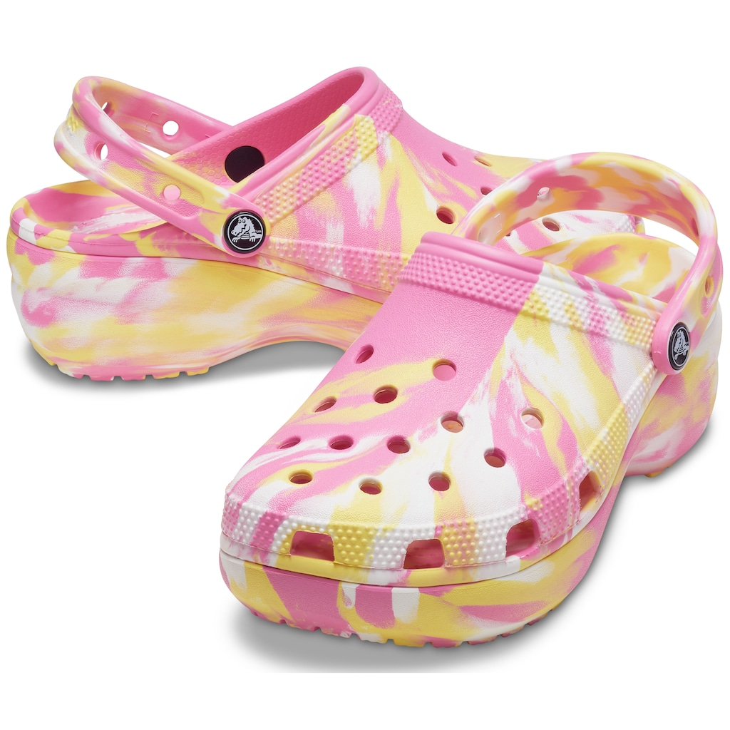 Crocs Clog »Classic Platform Marbled Clog«, mit pastellfarbenem Batikmuster