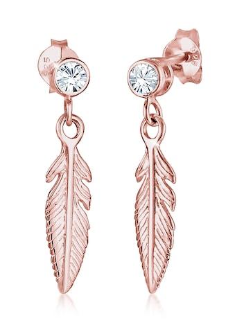 Elli Paar Ohrhänger »Ohrhänger Feder mit Kristalle Silber« kaufen