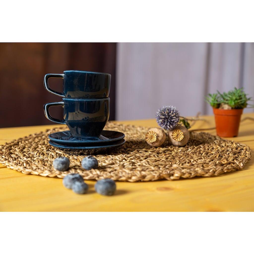 Eschenbach Espressotasse »Kaleido«, (Set, 2 Espressotassen-2 Espressountertassen), 4-teilig, von Hand aufgebrachte Farbglasur, spülmaschinenfest