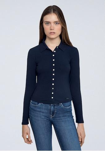 Pepe Jeans Langarmshirt »AGNES«, mit Kentkragen und durchgehender Knopfleiste kaufen