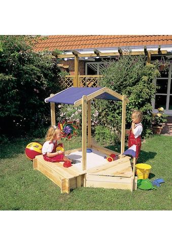 PROMADINO Sandkasten »Peter«, BxL: 124,5x140,5 cm, mit Sitzbox, Bugbox + Sonnendach kaufen