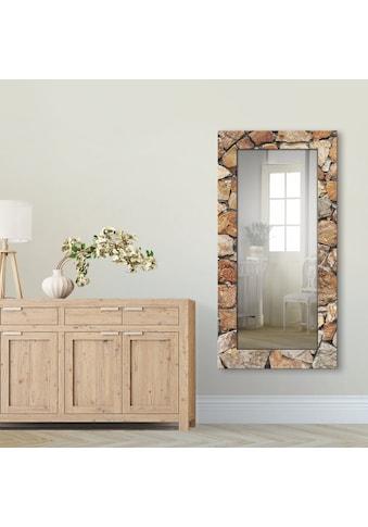 Artland Wandspiegel »Braune Steinwand«, gerahmter Ganzkörperspiegel mit Motivrahmen,... kaufen