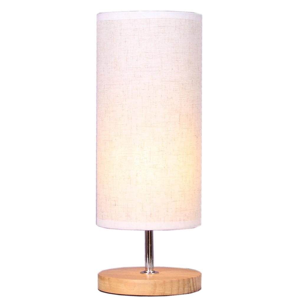 Home affaire Tischleuchte »WOODEN BASE«, E14, Tischlampe mit Holz-Fuß und Stoff-Schirm
