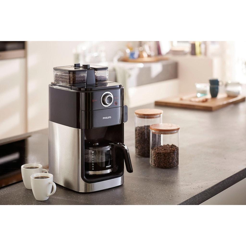 Philips Kaffeemaschine mit Mahlwerk »Grind & Brew HD7769/00«, doppeltes Bohnenfach, edelstahl/schwarz