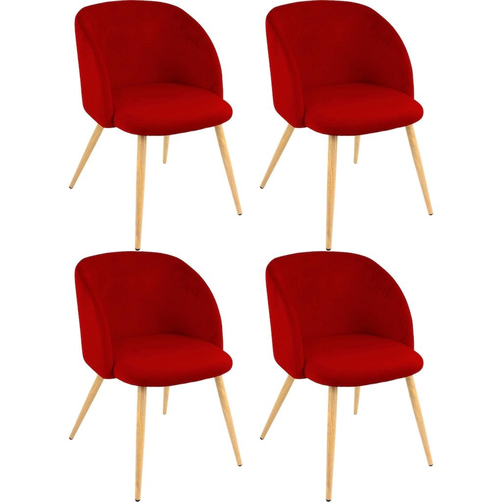 Armlehnstuhl »Dali«, (2 oder 4 Stück), mit Veloursbezug und in 2 Gestellfarben