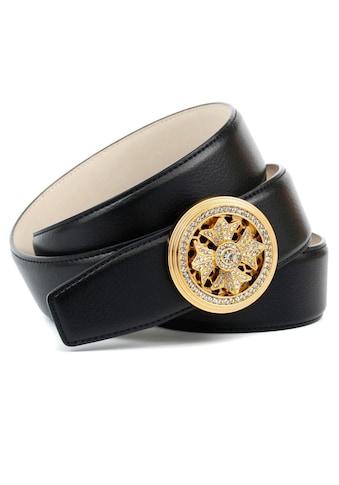 Anthoni Crown Ledergürtel, Goldfarbene Schmuckschließe und Drehmechanismus kaufen