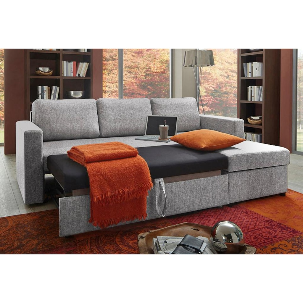 ATLANTIC home collection Ecksofa, mit Bettfunktion