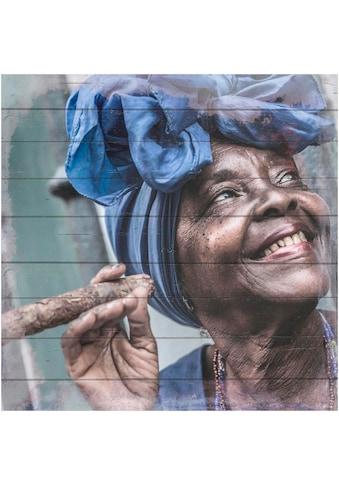 Home affaire Holzbild »Havanna Lady mit Kopftuch«, 40/40 cm kaufen