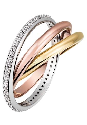 Firetti Goldring »3-fach verschlungen, tricolor-Optik, massiv und glänzend«, mit... kaufen