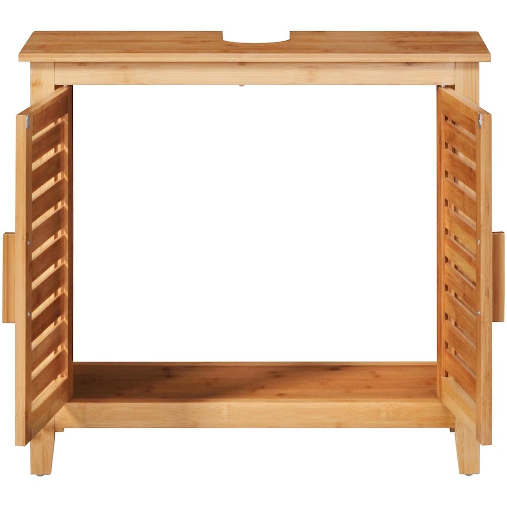welltime Waschbeckenunterschrank »Bambus«, Badmöbel mit Siphonausschnitt, Breite 67 cm