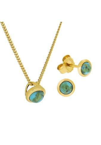 Zeeme Paar Ohrhänger »925/- Sterling Silber vergoldet Türkis rek.«, (Set), Anhänger,... kaufen
