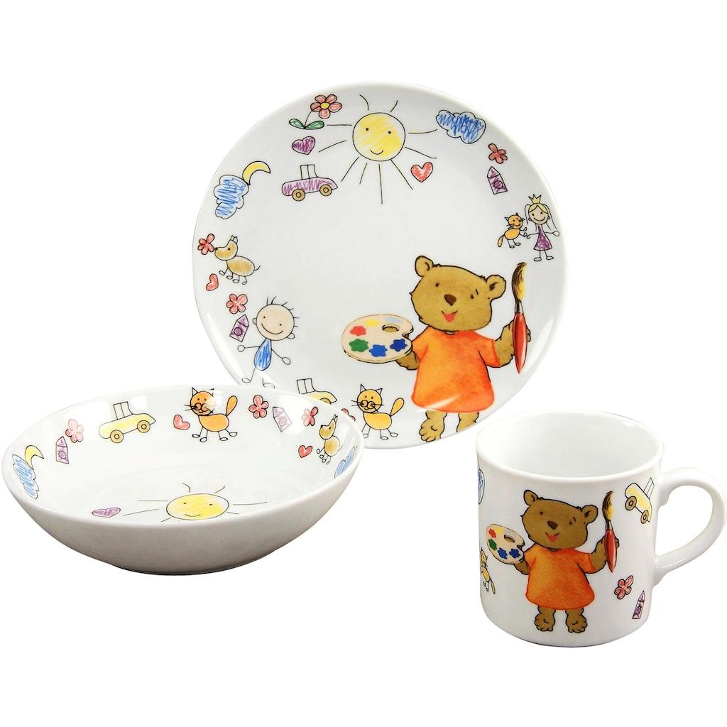 CreaTable Kindergeschirr-Set »Teddy«, (Set, 3 tlg.)