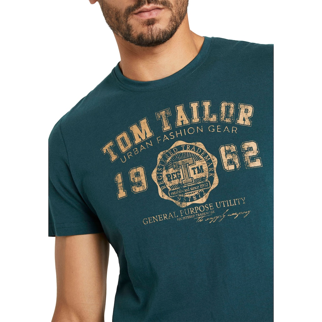 TOM TAILOR Rundhalsshirt, mit Logoprint
