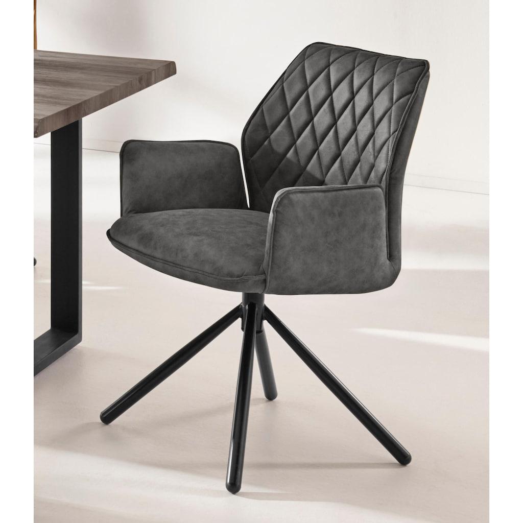 INOSIGN Esszimmerstuhl »Preston«, 2er Set, mit weichem Luxus-Microfaser Bezug in Lederoptik, mit schwarzen pulverbeschichteten Metallbeinen, Sitzhöhe 48 cm