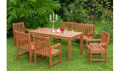 MERXX Gartenmöbelset »Santos«, 6tlg., 4 Sessel, Bank, Tisch, Eukalyptusholz, natur kaufen
