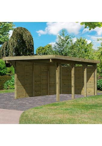 Karibu Einzelcarport »Classic 2«, Holz, 250 cm, braun, mit Rückwand und 3 Seitenwänden kaufen