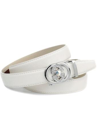 Anthoni Crown Ledergürtel, in weiß mit aufwendiger Schmuck-Schließe kaufen