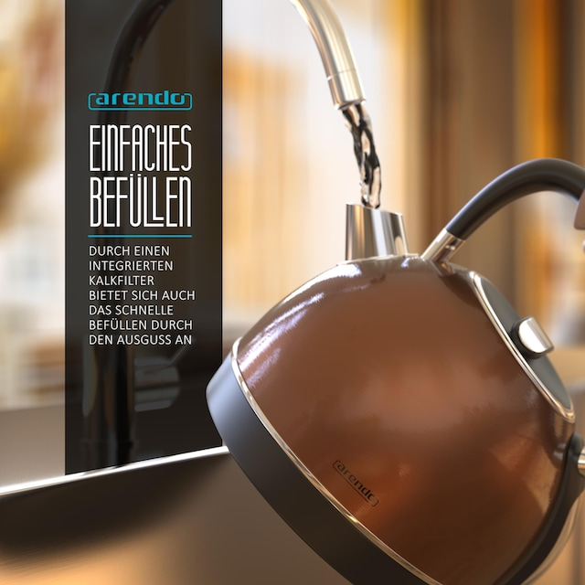 Arendo Vintage Retro Style Edelstahl-Wasserkocher im Kupfer Design »1,7 Liter / Trockenkochschutz«