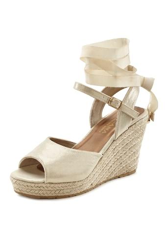 LASCANA Sandalette, mit Keilabsatz aus Bast mit abnehmbaren Bändern kaufen