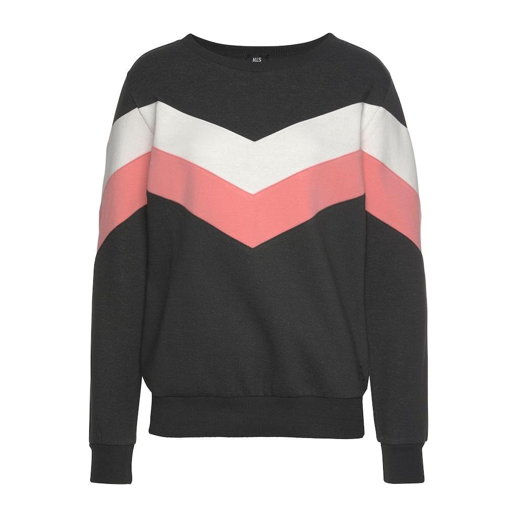 H.I.S Sweatshirt, mit Kontraststreifen an Vorderseite und Ärmeln