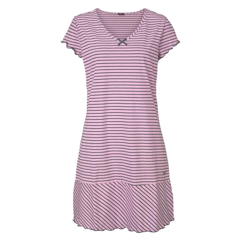 H.I.S Nachthemd, in süßem Streifenlook mit Kräuselrändern