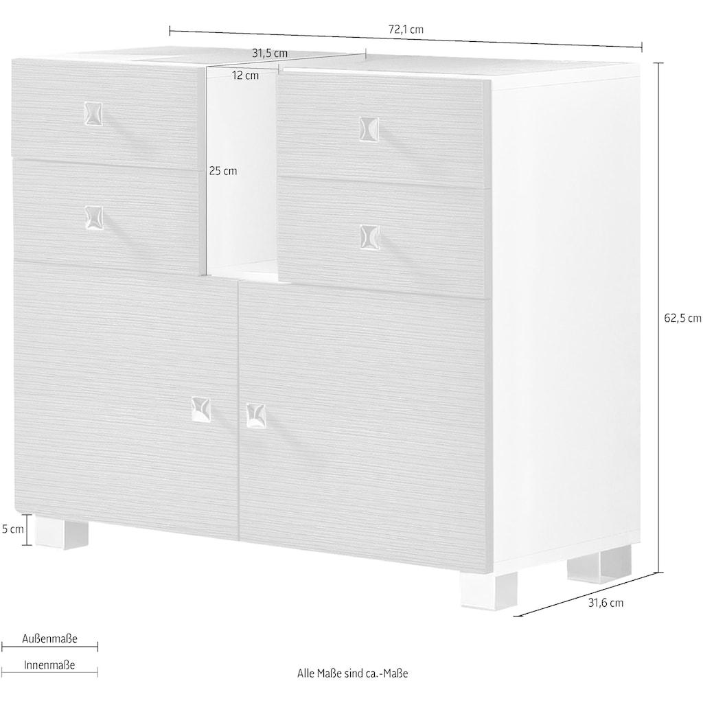 Schildmeyer Waschbeckenunterschrank »Bozen«, Breite 72,1 cm, Türen mit Soft-Close-Funktion