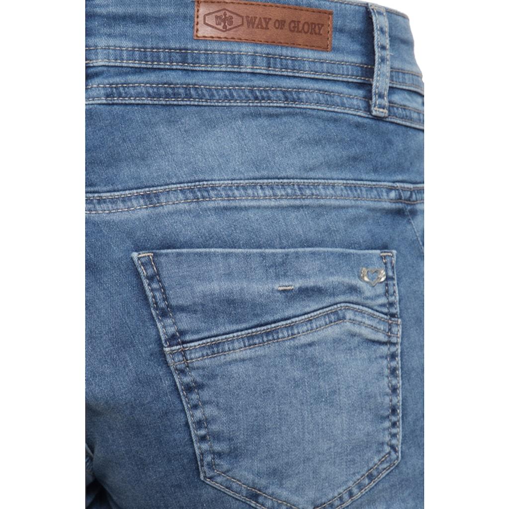 Way of Glory Jeansshorts, mit Waschungen und Strass-Detail