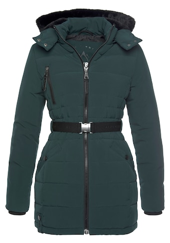 ALPENBLITZ Winterjacke »Oslo short«, hochwertige Steppjacke mit Markenprägung auf dem elastischem Gürtel und kuscheliger, abnehmbarer Kapuze kaufen