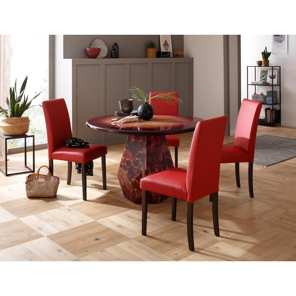 Premium collection by Home affaire Esstisch »Omega«, aus massivem Mangoholz, mit besonderen Farbakzenten auf dem Fußgestell und einem einzigartigen Farbverlauf auf der Tischplatte