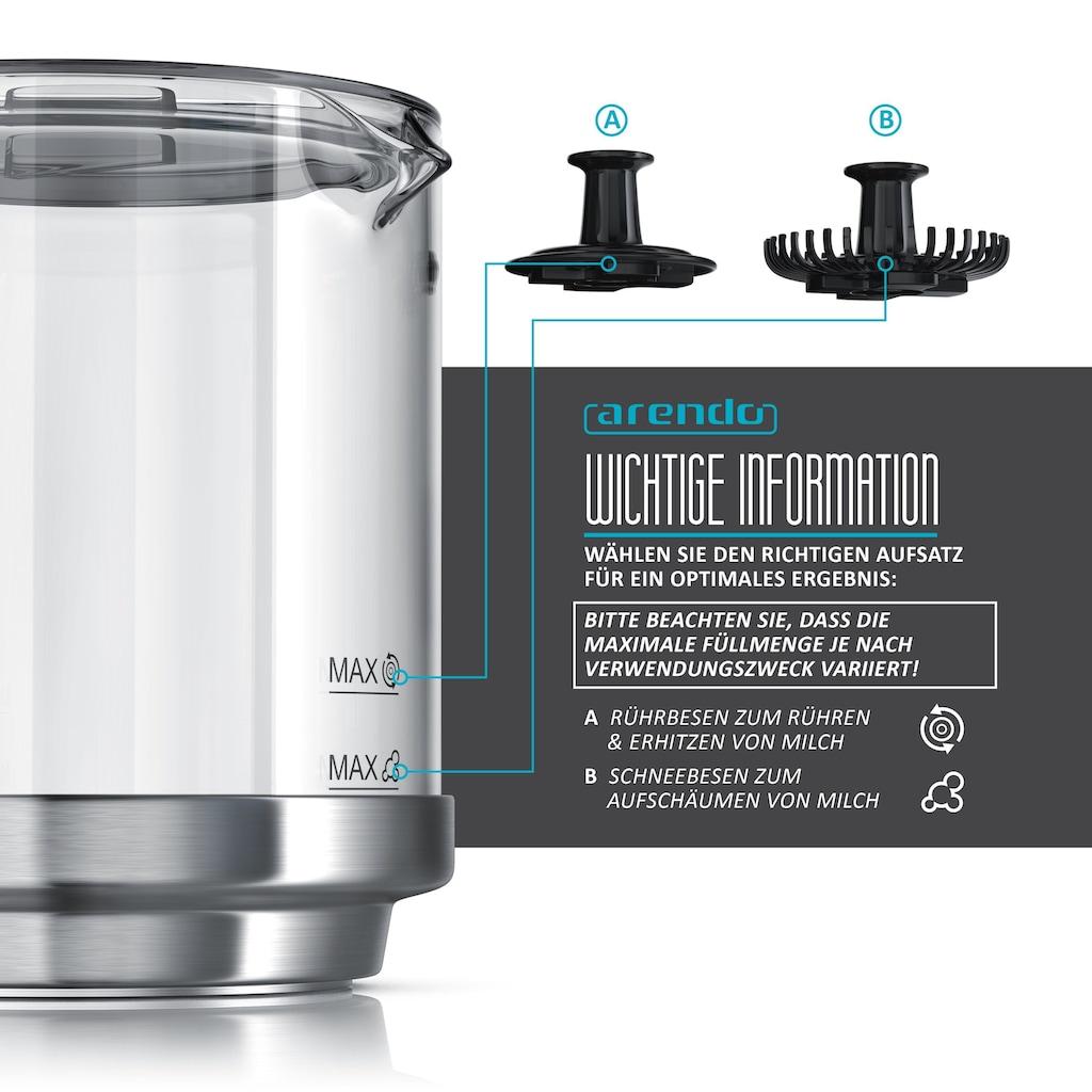 Arendo Milchaufschäumer inkl. abnehmbaren Glasaufsatz