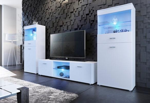 weiße Wohnwand mit LED-Beleuchtung