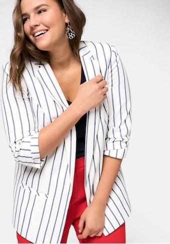 Sheego Jackenblazer, verschlusslos Streifen Business elegant pflegeleicht kaufen