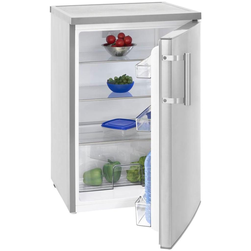 exquisit Kühlschrank »KS 16-1 RV A+++Inox look«, 84,5 cm hoch