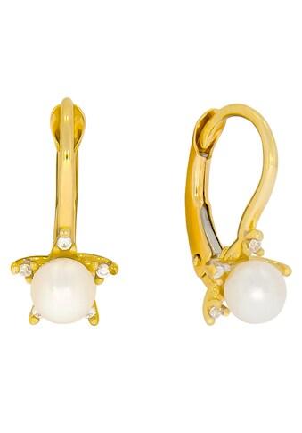 Firetti Paar Ohrhänger »Sonne«, mit Zirkonia (synth.) - mit Süßwasserzuchtperle kaufen